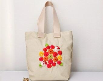Colorful canvas tote, white diaper bag, medium purse, linen lining, yo-yo flowers garden embellishment, ECO Friendly