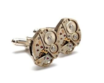 AWESOME Steampunk Cufflinks BULOVA Steampunk Vintage Watch Cufflinks Silver Wedding Cuff Links Steampunk Jewelry by Victorian Curiosities