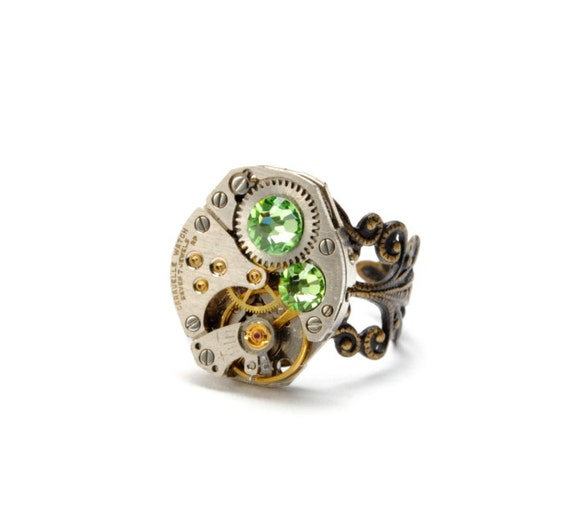 PERIDOT Steampunk Ring AUGUST Steam Punk Ring Steampunk Watch Ring Swarovski Steam Punk Jewelry Steampunk Jewelry By Victorian Curiosities