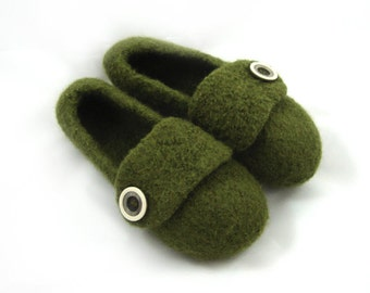 Army Green Womens Felted Wool Slippers