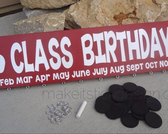 Class Birthdays Wood Wall Hanging, Back to School, Teacher Gift, Classroom Decor, Class Celebrations
