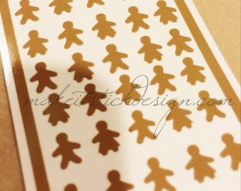 Gingerbread Boys and Girls Nail Decals Set of 50 YOU PICK COLOR- Nail Vinyls
