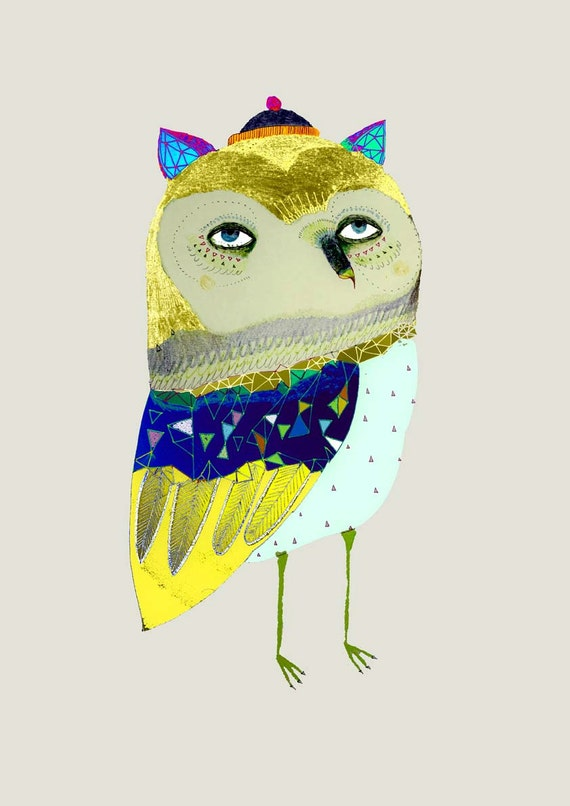 Golden Owl. Limited edition art print by Ashley Percival. Owl Illustration.