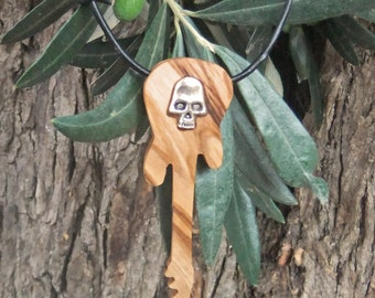 Guitar pendant, inlaid with alloy skull, hand made from olive wood