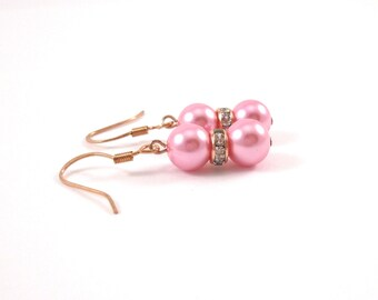 Bubble Gum Pink Bridesmaids Earrings with Rose Gold Accents, Pink Wedding Earrings, Pink with Rose Gold Bridesmaids Gift
