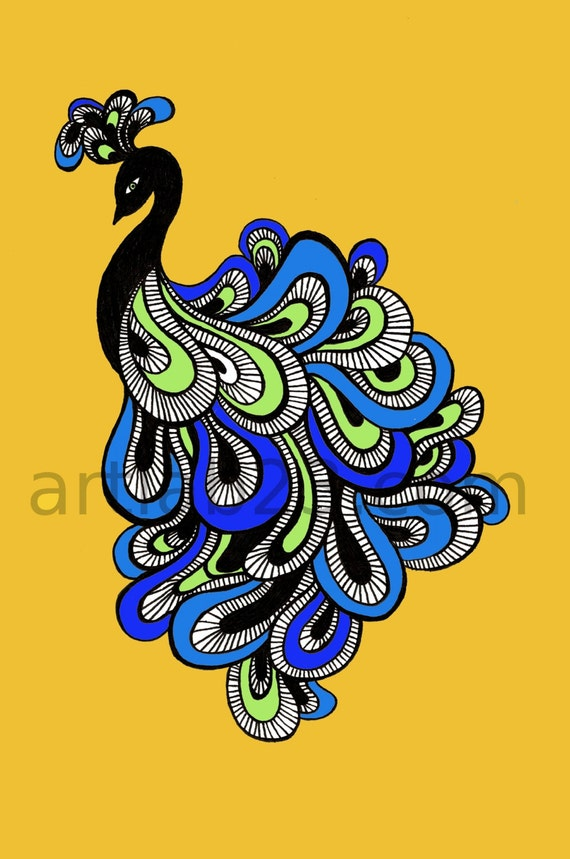 Items similar to Peacock Art Print - 8x10 - yellow blue ...