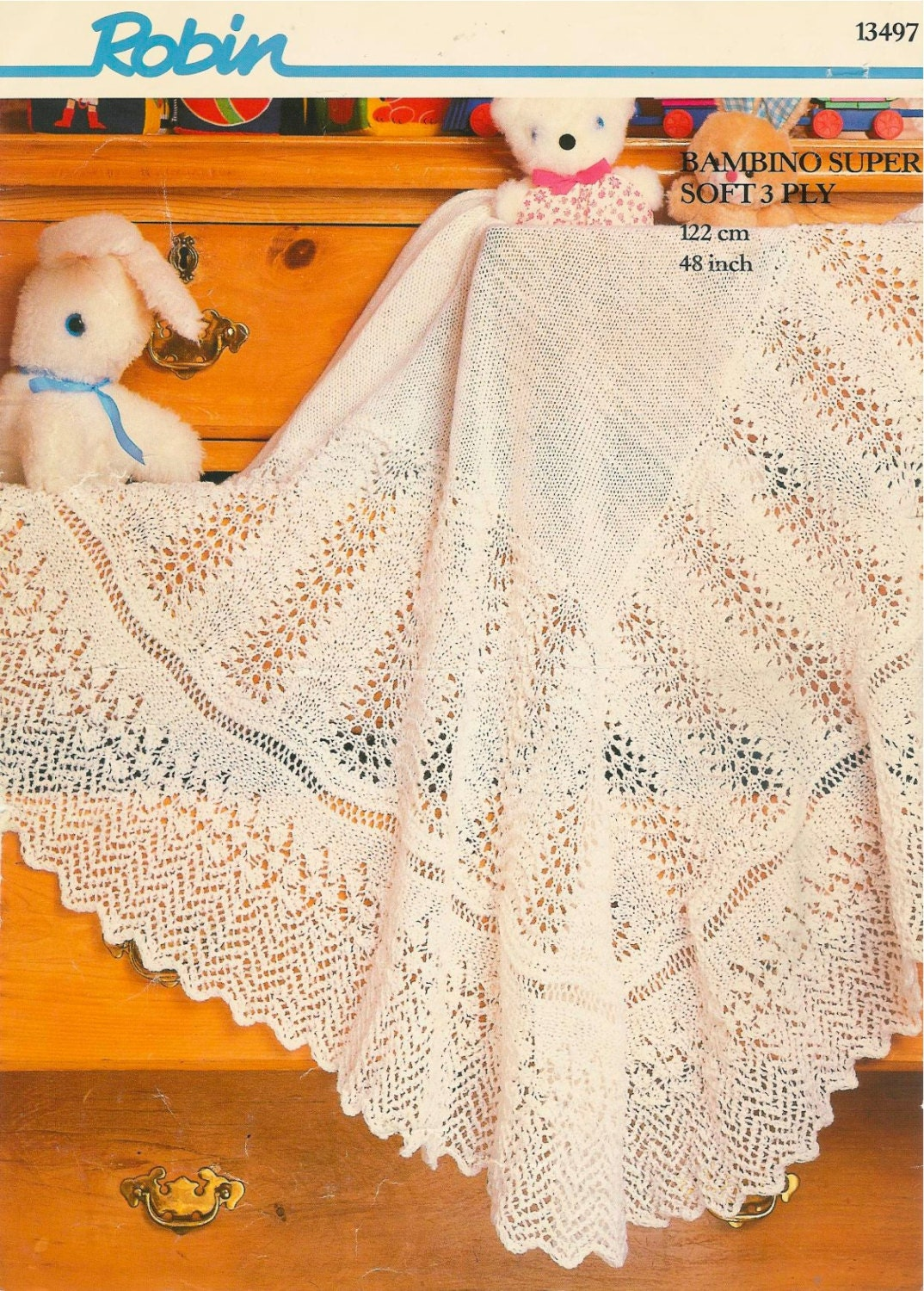 Vintage knitting pattern baby blanket afghan pram cover throw