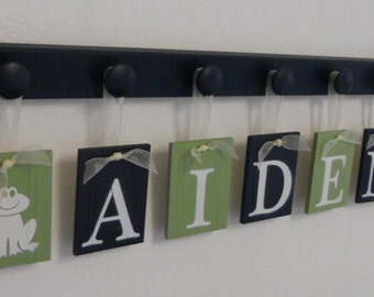 Froggy Nursery | Frog Art Wall Decor | Personalized Ribbon Name Letters includes Pegs | Painted Navy and Light Green | Frog Gifts
