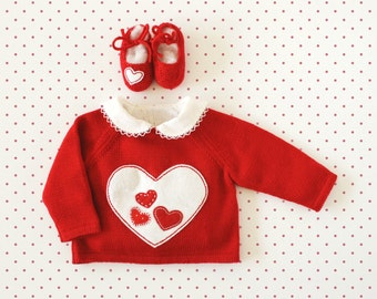 Knitting sweater in red with hearts. 100% wool. READY TO SHIP size Newborn. Valentine's Day
