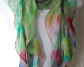 Hand Dyed Nuno Felted Chiffon Silk Scarf -Rainbow chiffon (pink, turquoise, chartreuse green) - Felted Merino Wool