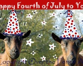 4th of July Card Goat Art Funny Goats in Hats Whimsical Celebrating the 4th