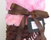 Pink and Brown  Minky Stroller Blanket - Personalization is Available