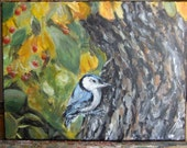 Nuthatch Clings to Trunk of Tree 9 x 12 Original Acrylic Painting