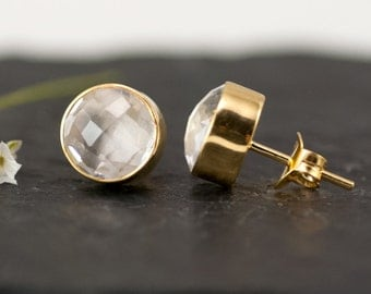 Clear Quartz Stud Earrings - April Birthstone Studs - Gemstone Studs - Round Studs - Gold Stud Earrings - Post Earrings