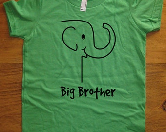 Elephant Big Brother Shirt -  8 Colors Available - Kids Big Brother T shirt Sizes 2T, 4T, 6, 8, 10, 12 - Gift Friendly - Bother Shirt
