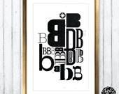 Letter B Type Specimen - 11x17 Art Print