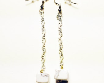 Howlite and vintage white chain earrings