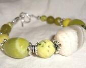 Meditation Bracelet, Yoga Bracelet, Healing Bracelet, Kundalini Bracelet, Serpentine Bracelet, Chartreuse Bracelet, MOONSTONE