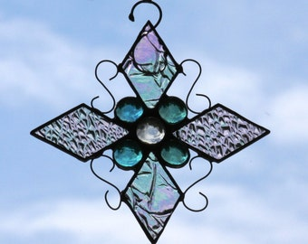 Stained Glass Iridescent Snowflake Suncatcher with Teal and Clear Jewels