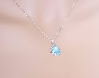 Aquamarine Necklace, Tear Drop, March Birthstone, Wedding Jewelry, For Her, Aquamarine Jewelry, Birthstone Necklace