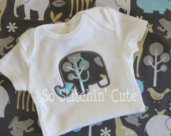 Personalized Elephant Applique Onesie