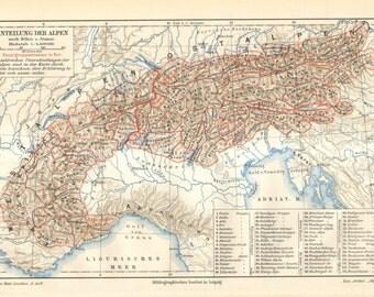 1903 Original Antique Map of the Alps