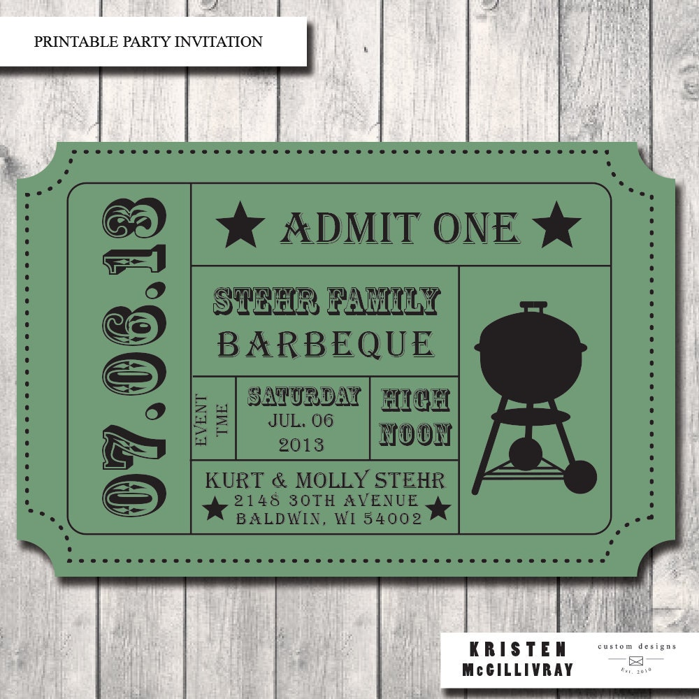 Barbecue tickets design bing images for Bbq tickets template