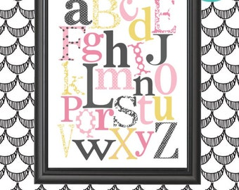 GIRLS ABC Print with Polka dots and Damask...