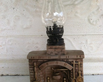 Oil Lamp Fireplace Kitchen Hearth Colonial Cooking Fireplace