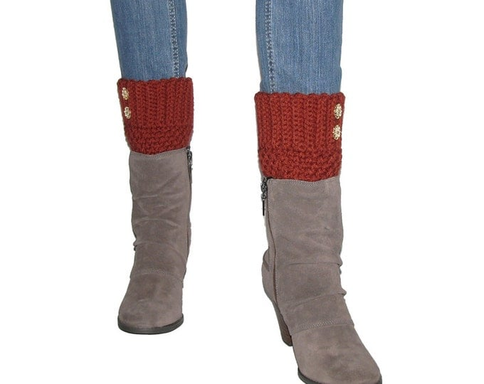 Crocheted Rust Red Boot Cuffs With Gold Filigree Buttons, Autumn Leg Warmer, Terra Cotta Boot Topper, Clothing Accessory, Skinny Jeans, Teen