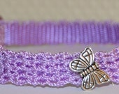 Butterfly - Lavender nylon Cat collar w/silver butterfly - unique handmade crochet breakaway pet collar