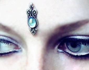 Water Sprite Bindi, facial jewelry, fairy, fantasy, bindi, bellydance, magic, wicca, glass, blue, silver, skin gem, bollywood, tribal fusian
