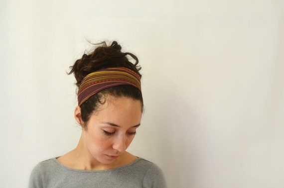 Reversible Fabric Headband / woven stripes and batik in brown