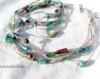 Extra Long Hemp and Genuine Turquoise, Emerald,  Picasso Jasper, Crazy Lace Agate, Three Strand Necklace, Green Mountain Journey