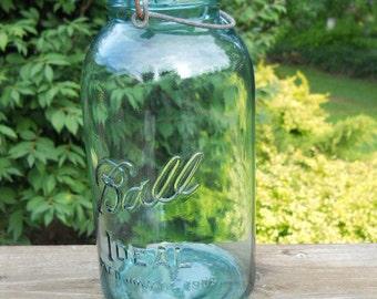 Vintage/Antique Ball Ideal blue half gallon jar with wire bail, blue glass lid-rubber seal-Pat. 1908-Mason jar