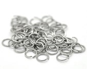 6mm Jump Rings : 100 Antique Silver Open Jump Rings 6mm x .7mm (21 Gauge) -- Lead, Nickel, & Cadmium free Jewelry Finding 6/.7