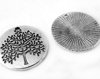 Charms : 10 Antique Silver Tree of Life Charms   Silver Tree of Life Pendants ... 22x2mm -- Lead, Nickel & Cadmium Free  54422.J6D