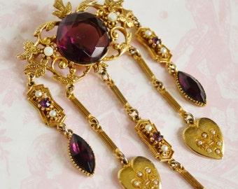 Vintage Purple Heart Locket Brooch by Coro