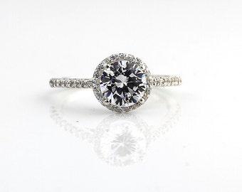 7mm Round  1.25 ct Forever Brilliant Moissanite Solid 14K White Gold Diamond Engagement Ring - Gem830