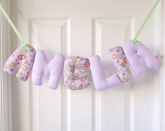 AMELIA - Personalized Baby name wall hanging, name banner. Lilac baby shower, newborn, christening gift for a new baby girl. Baby Birthday.