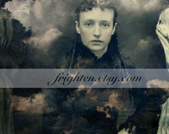 Haunting Collage Art Print, Altered Tintype, 8.5 x 11 Inch Print, Beautiful Woman with Clouds, Unusual Portrait