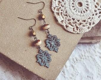 bohemian beaded patina earrings.