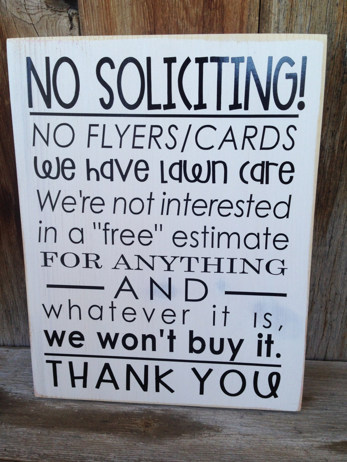 No soliciting sign for your front door porch wooden home - Wooden door signs for home ...