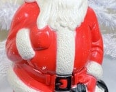 Plastic Santa Blow Mold Vintage Christmas Decoration Santa Claus St. Nicholaus Red White Black Empire 1960's - RelicsAndRhinestones
