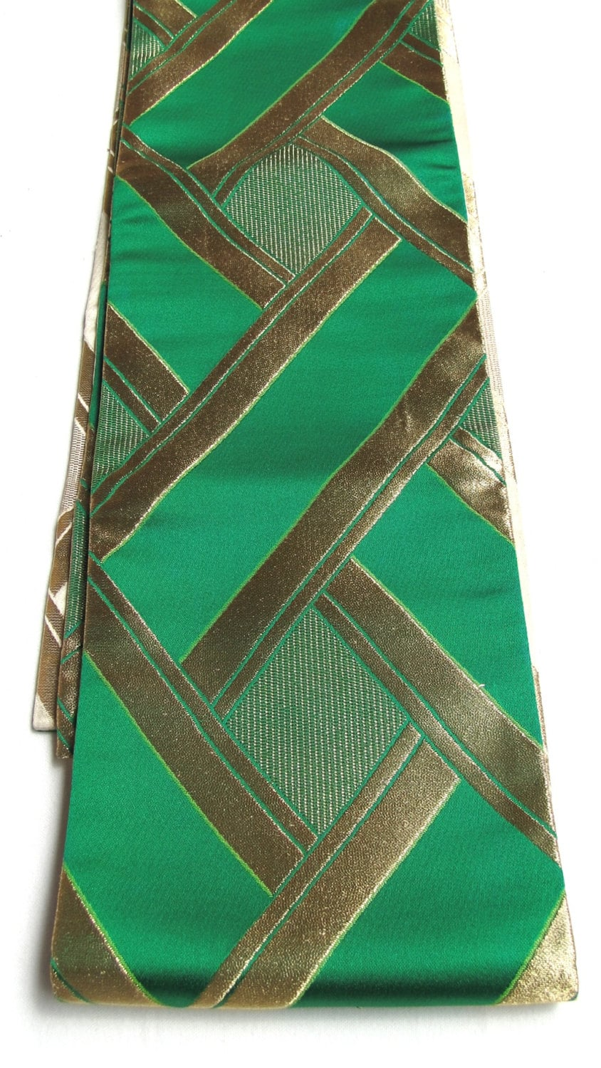 vintage japanese obi table runner wall hanging green gold. Black Bedroom Furniture Sets. Home Design Ideas
