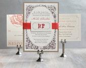 """Coral Wedding Invitation, Peach Wedding Invites, Modern Invitations, Elegant Invites, Vintage Wedding, """"Vintage Coral"""" Sample"""