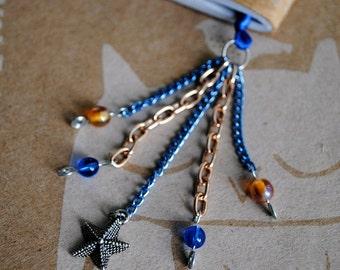 Starfish Bookmark Blue Beaded Book Thong Summer Beach Reading Book Club