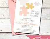Custom Puzzle Baby Shower Invitation - 4 Color Choices  Baby Sprinkle/Couple's Shower - DIY Printable Invite - Missing Piece Puzzle Complete
