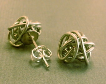 Wire Ball Studs: Wire Yarn Ball Stud Earrings, Wire Bent, Hand Bent, Wire Wrapped