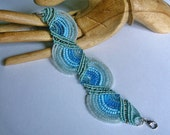 Micro macrame bracelet cuff. Beaded macrame jewelry. Micromacrame.